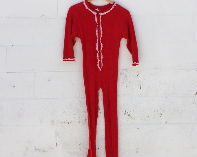 Women's Red Terrycloth Onesie Footie Pajamas with Lace Vintage