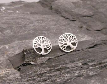 Tree of life ear studs, 925 Sterling Silver earrings