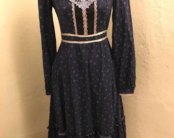 Gunne Sax Seventies Navy Prairie Dress Size S/M