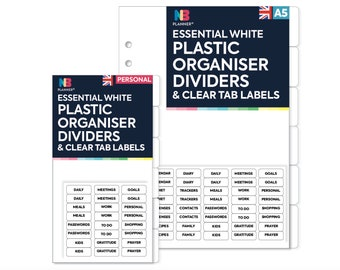 PRINTED  plastic dividers & clear TAB LABELS Filofax A5 / Personal Compatible
