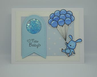 New Baby Boy card, Handmade Baby Boy card, Blue Bunny card, It's a Boy card, Bunny Balloons card, Blue Glitter Tag, Polka Dot card