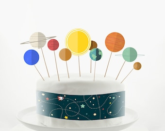 Cake Topper Set - Cake Decorations - PRINTABLE - DIY - Solar System Model - Sun- Space- Planets