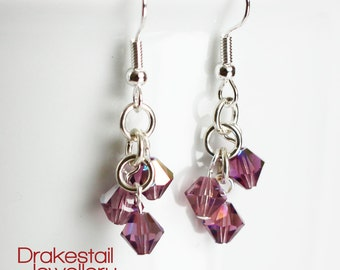 Preciosa crystal cluster earrings with purple crystals
