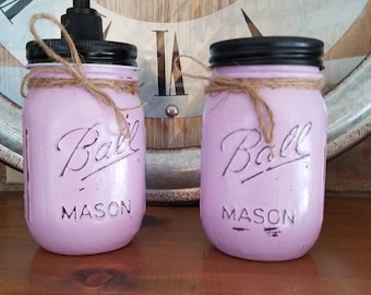 Farmhouse Shabby Chic Distressed Mason Jar Soap Dispenser and toothbrush holder Lilac