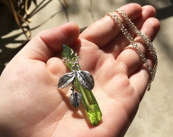 Green Crystal Necklace, Silver Leaf Necklace, Green Fairy Jewelry, Handmade Necklace, Green Aura Quartz Necklace, Green Leaf Fairy Necklace