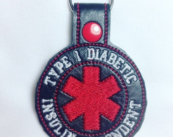 Diabetes Alert, Medical ID, Diabetes Awareness, Type 1, Type 1 Diabetic, Type 1 Awareness, Diabetic, Diabetes, Medical Keychain, Insulin
