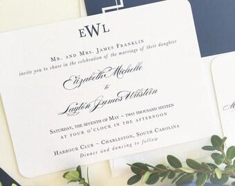 Classic Elegant Wedding Invitation, Classic Monogram Wedding Invitation, Navy Wedding Invitation, Elegant Navy Wedding Invitation