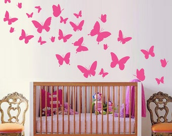 Butterflies Nursery Wall Sticker, Butterflie Decal Baby Room Decor Art, Butterflies Wall Decals Australian made
