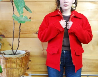 vtg 50s red wool hunting jacket