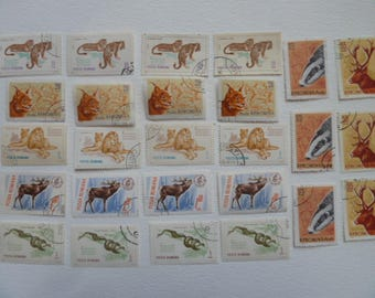 Lot of Romanian Postage Stamps with Animals - for Collections, Art Projects, Decoupage, Paper Crafts, Collage and More...