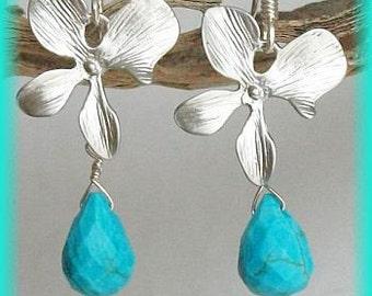 Turquoise Earrings, Briolette earrings, Silver, Orchid Earrings, Orchid Flower Earrings, Free Shipping