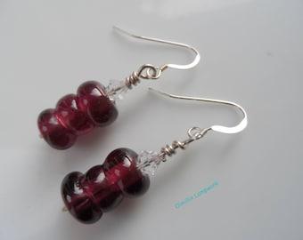 Violet Lampwork earrings reddy purple with trio of beads