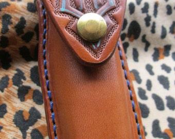 Knife case, Handmade leather, Uncle Henry + LB7 style knife case, custom tooled celtic design, folding knife case