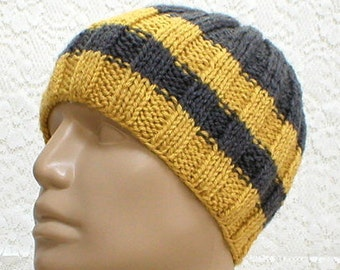Charcoal gray mustard yellow beanie hat, skull cap, striped hat, gray hat, toque, mens womens knit hat, ski hiking hat, biker cap, chemo cap