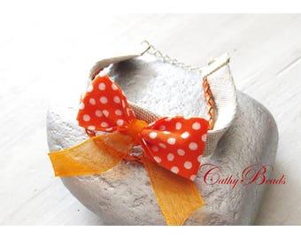 Bracelet liberty fabric cuff... In my Orange