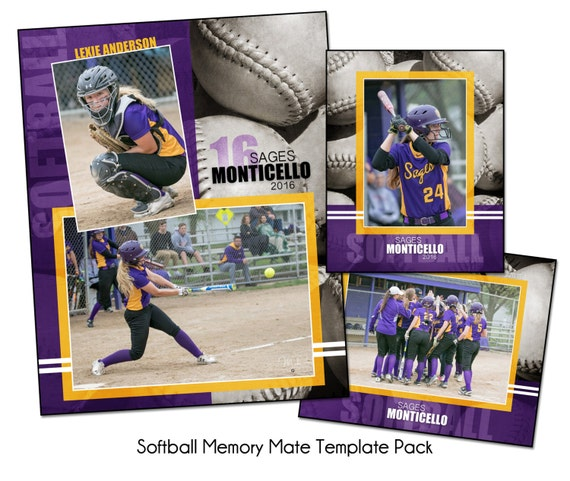 SOFTBALL PACK D Memory Mate Sports Photo Templates Digital