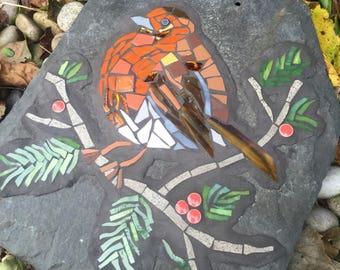 Winter Robin on Slate Mosaic