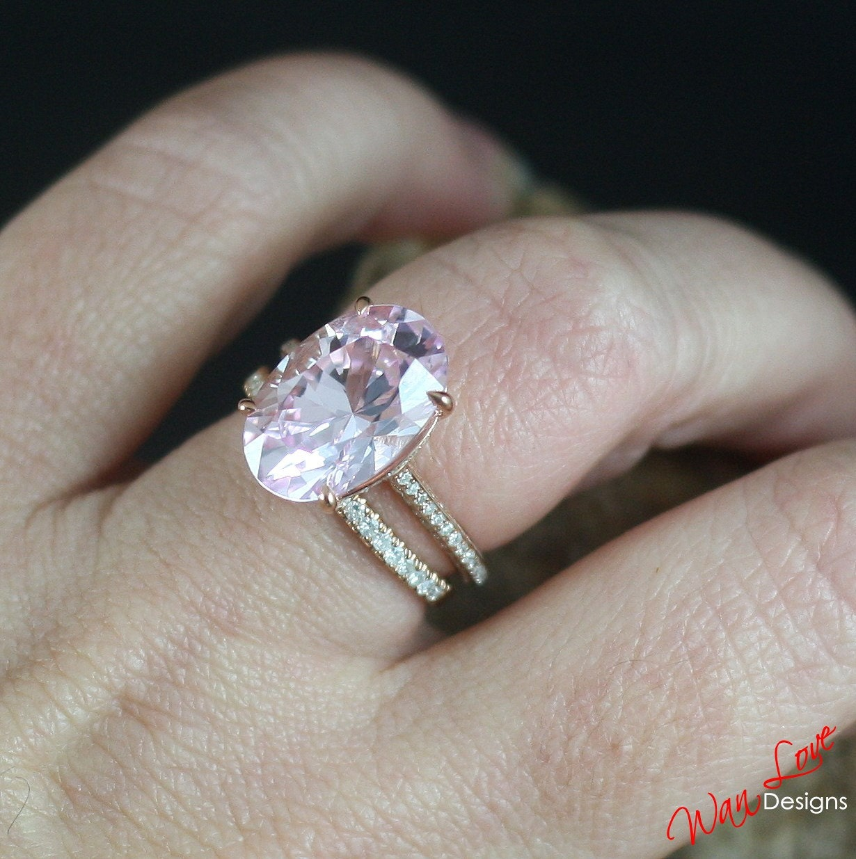 wedding band and pink split halo anniversary ring engagement rings cushion diamond triple sapphire products platinum shank