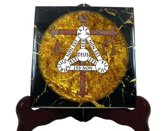 Shield of the Trinity - Christian gifts - Scutum Fidei - collectible ceramic tile - christian symbols - Holy Trinity Shield