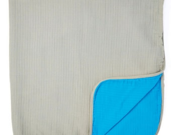 "Teal-Gray 2-layer Big Bambino: made with 100% Organic Cotton Muslin. (extra large 60""x72"") for older kids & adults"
