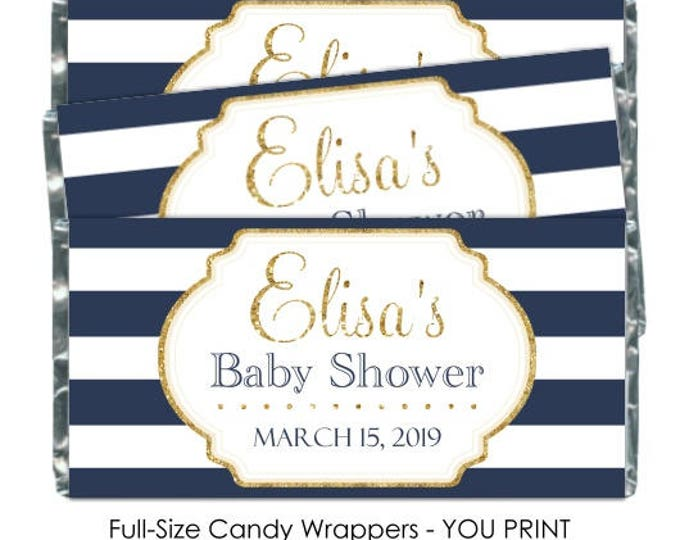 Printable Candy Wrappers, Navy Stripes and Gold Baby Shower Candy Wrappers - Chocolate Bar Candy Wrappers - baby shower, custom for you