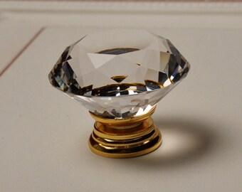 Glass Knobs / Crystal Knobs / Dresser Knob / Drawer Pulls Handles Clear Gold / Kitchen Cabinet Knobs Pull Handle Hardware Transparent