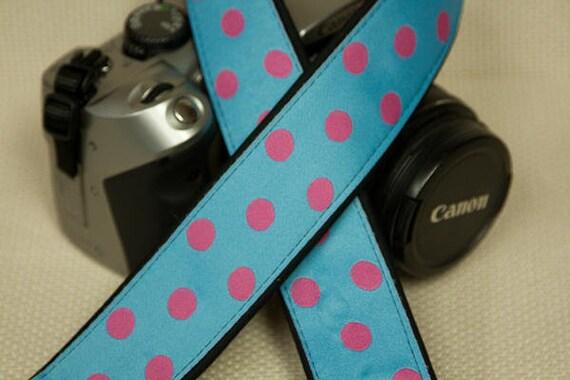 "Camera Strap Polka Dots Pink on Blue in 1.5"" Wide Custom Padded Fits DSLR SLR 2928"