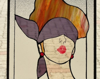 Stained glass like stained glass drawing Glasmalerei drawing, retro 50's