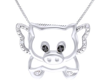 Jewel Zone US Black & White Natural Diamond Pig Pendant Necklace In 14K Gold Over Sterling Silver