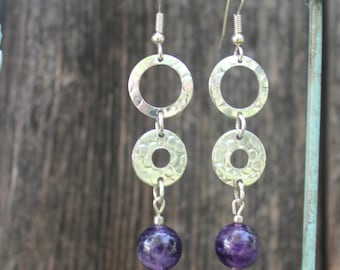 Drop earrings, silver hoops and amethyst beads