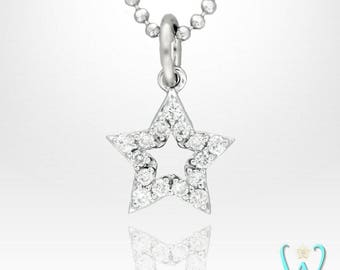 14KW Diamond Star Charm Pendant or Necklace
