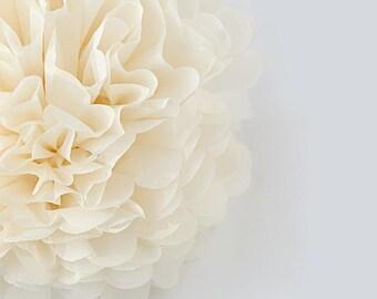 Paper pom pom in FRENCH VANILLA  - Wedding Party - Bridal Shower- Birthday party - Nursery Decor  - neutral decor - Tissue paper PomPom