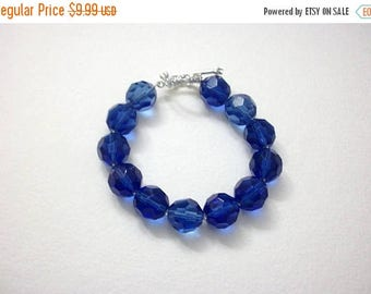 ON SALE Retro Bright Blue Translucent Faceted Czech Glass 8 Inch Bracelet 33017