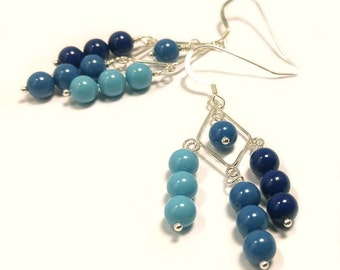 Swarovski Crystal Pearls in Navy, Royal Blue & Light Teal Blue on Sterling Silver Dangle Earrings Ombre Pastels