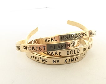 personalised brass bracelet, stamped gold bangle, customised jewellery, skinny cuff bracelet, gift for her, stamped jewelry, graduation gift