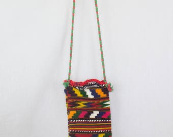 Native American Bag Tiny Cross Body Vintage Multicoloured Print