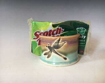 Pottery Sponge Holder, With Hand Painted Dragonflies, Kitchen Decor.