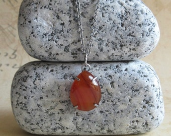 Red Agate Necklace, Teardrop Agate Pendant, Oxidized Sterling Silver Chain, Hand Forged Jewelry, Natural Stone Necklace