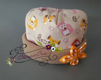 fleece and fabric baby bonnet