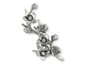 Cherry Blossom Brooch Pin Jewelry Sterling Silver Handmade Flower Brooch Pin CBL1-BP