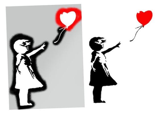 Banksy Ballon Fille Pochoir Banksy Fille Avec Ballon