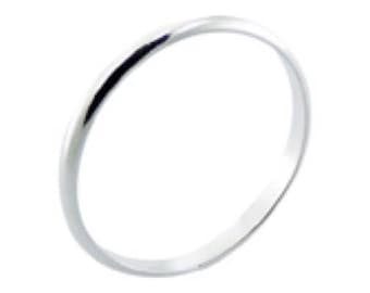 Solid 925  Sterling Ring 2mm Band Ring in Sizes G-Z