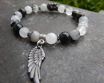 Bracelet natural stones of rutilated quartz beads 8 mm and gunmetal angel wing Medal