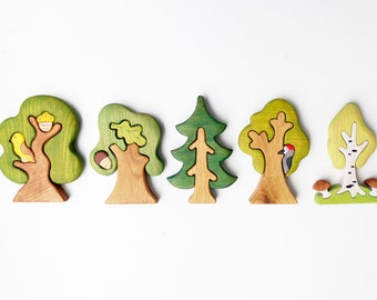 Tree set (5 pcs) Woodland set puzzle Nature table Tree figurine Toys for kids Toddler toys Forest play space