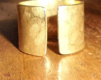 Brass or hammered copper band ring