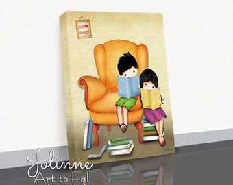 Reading Books Picture Canvas Print Wall Decoration Kids Library Reading Corner Brother Sister Illustration Children;s Room Decor Book Nook