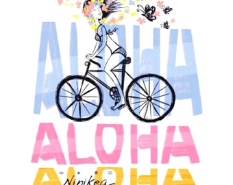 ALOHA -BIKE- V-neck T-shirt , exclusive design, for women, girls – handmade in Hawaii