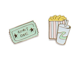 Movie collar clip enamel lapel pin set