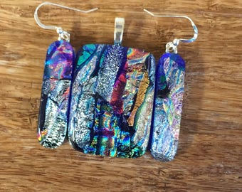 SALE  Multi Color Matching Pendant Earrings Set --Fused Dichroic Art Glass Jewelry FREE SHIPPING