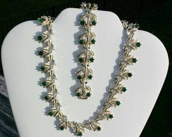 Vintage Coro rhinestone demi parure necklace bracelet set
